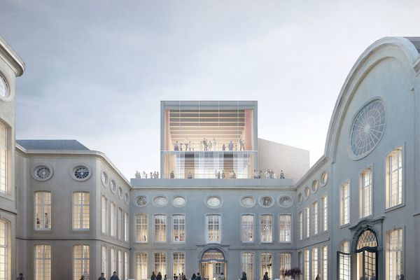 The winning design for the expansion of Design Museum Gent by Trans Architectuur Stedenbouw, Carmody Groarke, and RE-ST Architectenvennootschap.