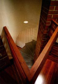 Looking down the stair in the front apartment.
