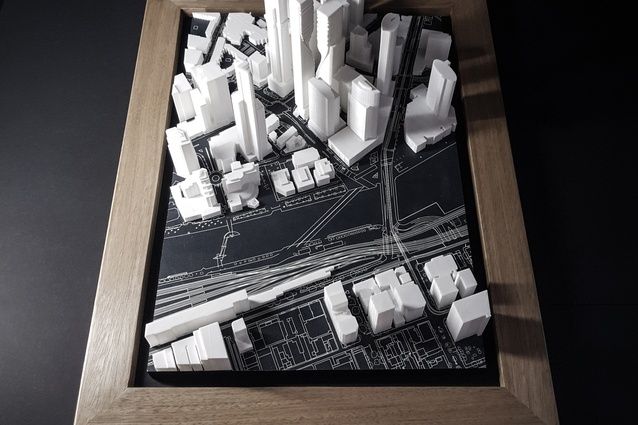 A model of the proposal and Southbank precinct by UN Studio and Cox Architecture.