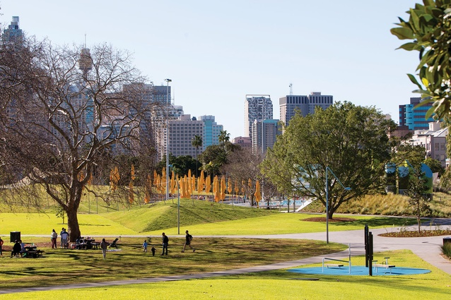 The faceted roof of the Prince Alfred Park pool appears to fold from the landscape.