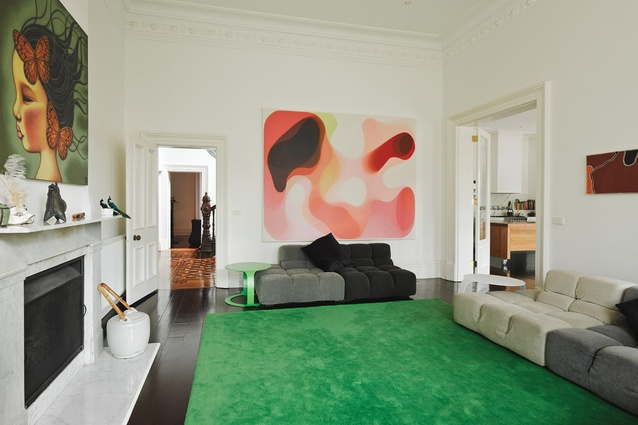 A contemporary edge is given to the existing Victorian interiors using splashes of bold colour. Artwork L–R: Poh Ling Yeow, Libby Edwards Gallery; John Young, Anna Schwartz Gallery; Freddie Timms, William Mora Galleries.