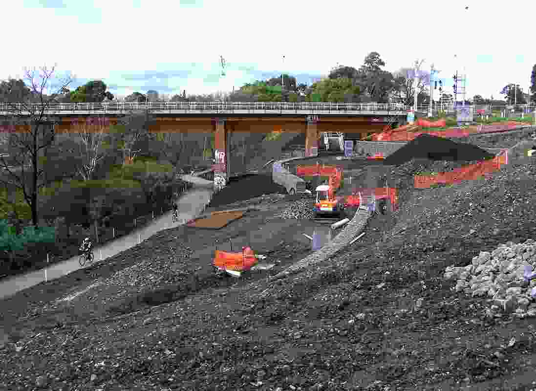View of south bank from High Street Bridge. Environmental management measures were strictly undertaken and observed during construction.