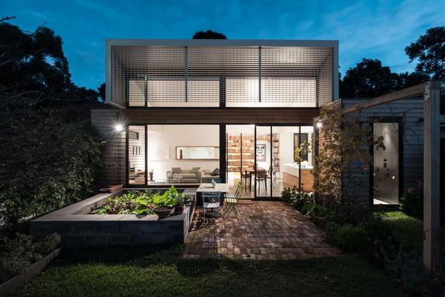 The rear exterior and garden of the Flemington, Melbourne, home.