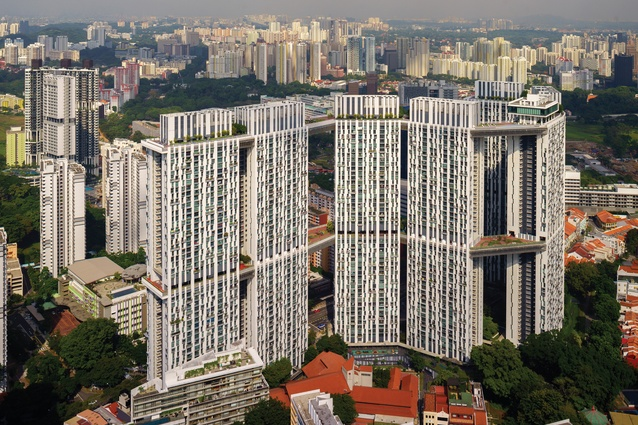 """The Pinnacle@Duxton public housing complex in Singapore by Arc Studio Architecture and Urbanism and RSP Architects Planners and Engineers includes """"sky gardens"""" that connect the seven fifty-storey towers with outdoor recreational spaces."""