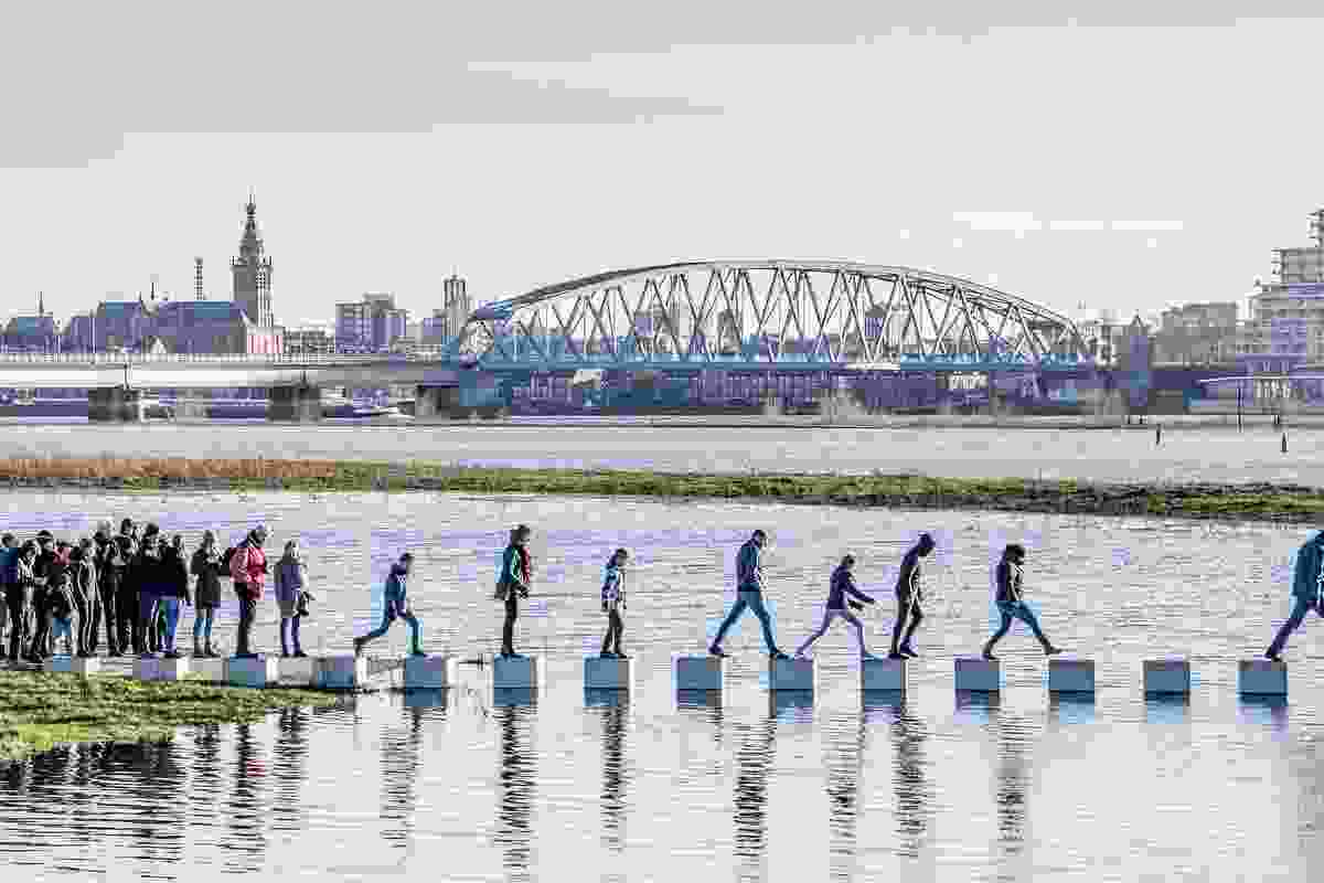The Zaligebrug (Zalige Bridge) in the Dutch city of Nijmegen highlights the rise and fall of the river's water levels – during times of flooding the bridge partially submerges, becoming inaccessible several days of the year.