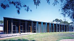 The layered northern elevation of the Monash Centre for Electron Microscopy.