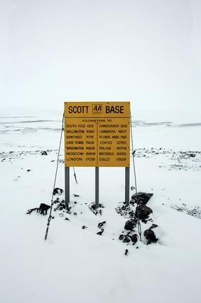Road sign at Scott Base.
