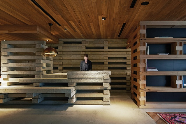 Hotel Hotel's concierge desk is made from stacked concrete beams.