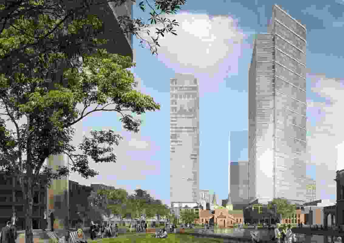 An early indicative design for the proposed towers at St John's Cathedral in Parramatta.