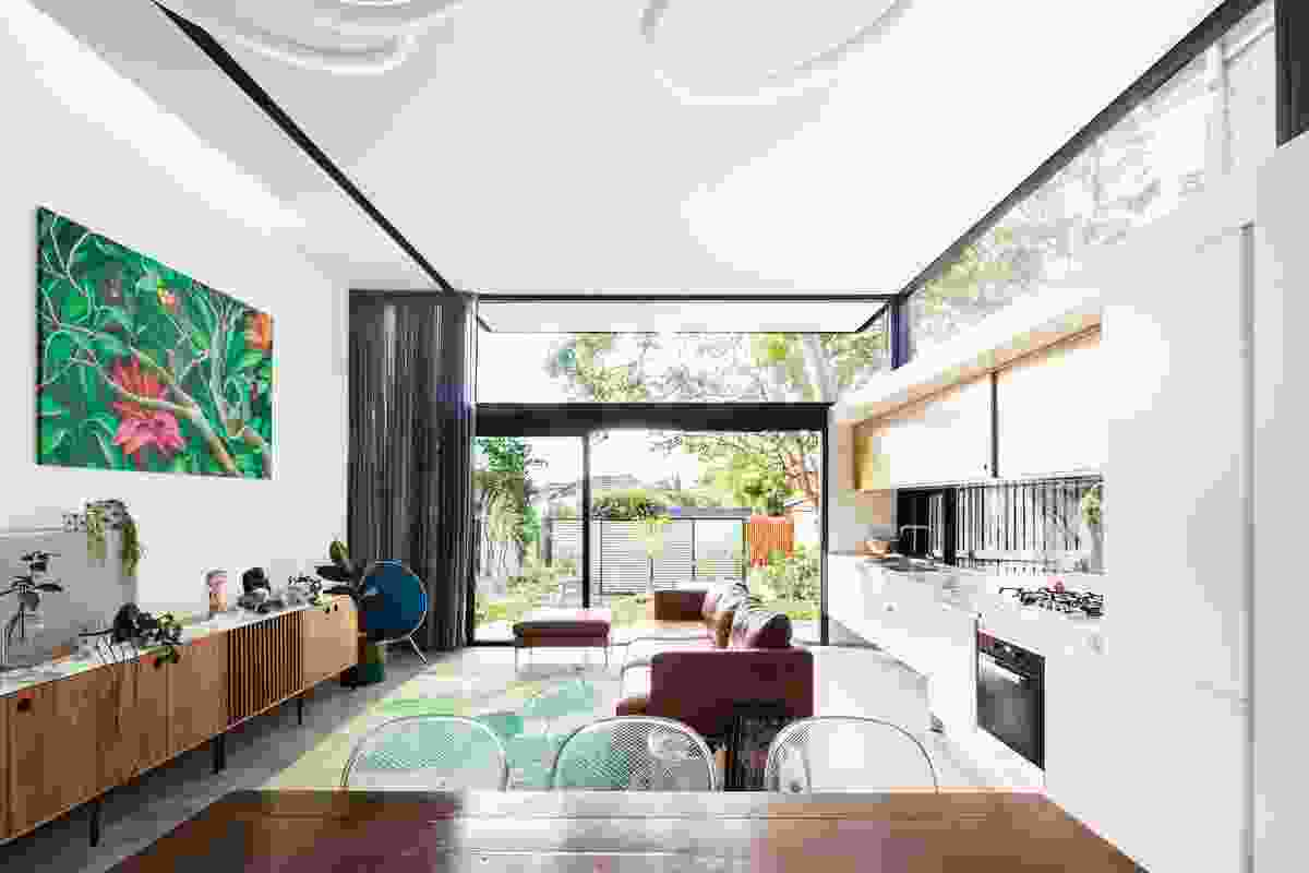 The house now connects directly to the north-facing rear courtyard. Artwork: Beret.