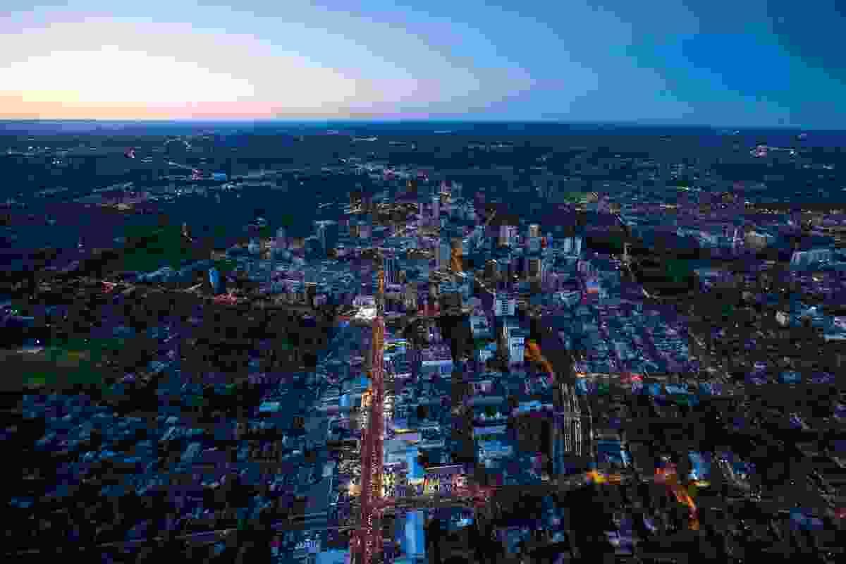 Night time aerial view of Parramatta.