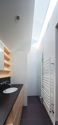 A skylight runs the length of the narrow ensuite, giving an impression of vertical space.