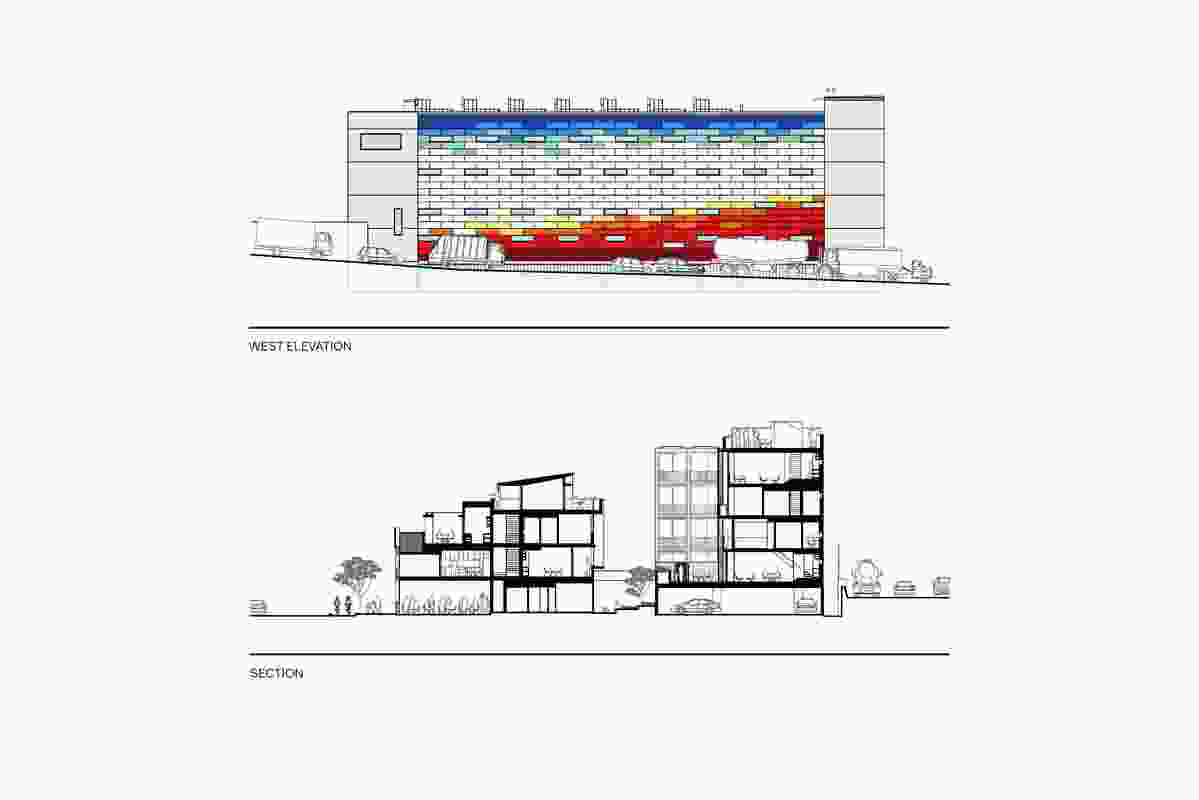 Section and elevation of the Woolloomooloo apartments.