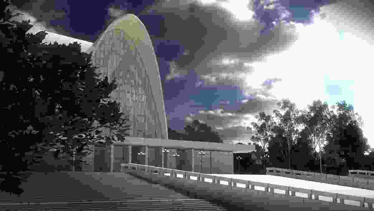 Nervi Cathedral (1958) in New Norcia, WA, by Pier Luigi Nervi, Antonio Nervi, Carlo Vannoni and Francesco Vacchini. Digital reconstruction by Matt Delroy-Carr, Keith Reid, Scott Horsburgh.