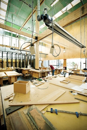 The open workshop is shared across year levels. It embraces the same raw materials that are used in furniture production.