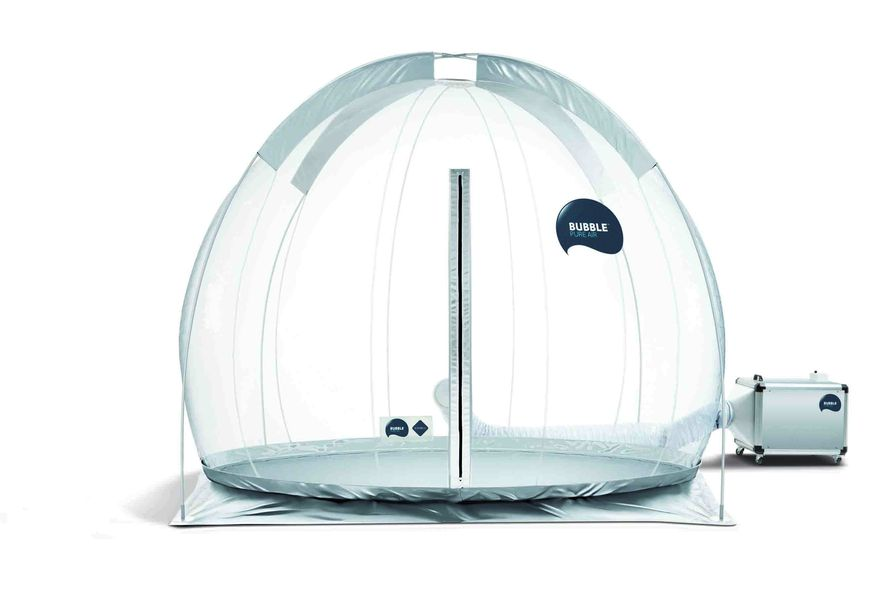"Bubble/Pure Air by Zonair3D is marketed as a ""portable space containing pure air""."