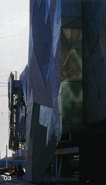 The skin of the ACMI coming down to the ground on the building's south side.Image: Trevor Mein.