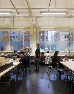 Students at work in RMIT's newly refurbished Building 45.