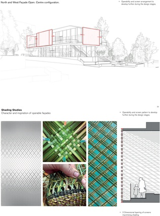 In Roger Poole's assessment, the proposed organic woven pattern of the movable sunscreens on the upper level will link the Apple building with the square.