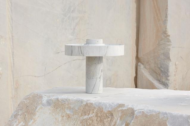 Hemera, a brutalism-inspired desk lamp designed by Ross Gardam.
