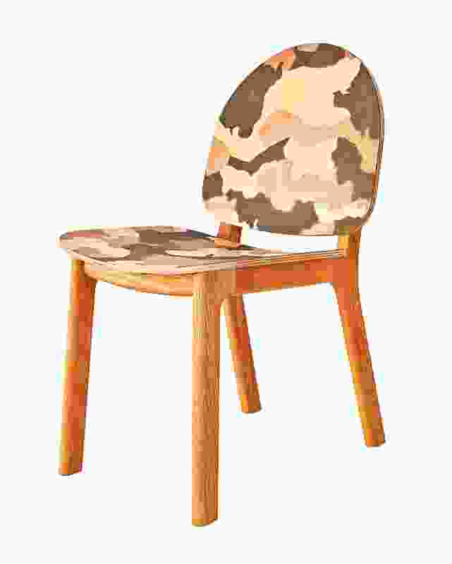 Camo-patterned Ghillie chairs designed by David Caon create a new interpretation of camouflage.