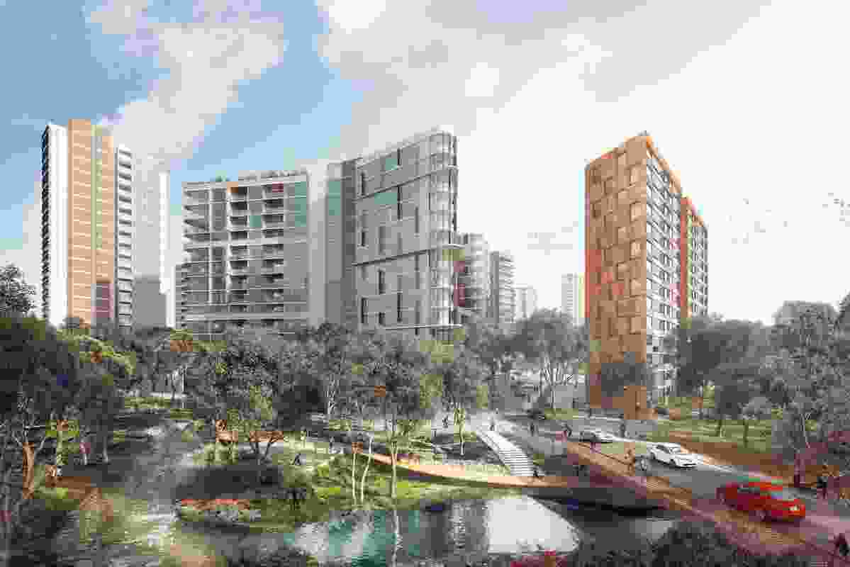 The proposed Ivanhoe estate redevelopment includes a bridge across Shrimptons Creek to the nearby Macquarie Business Park.