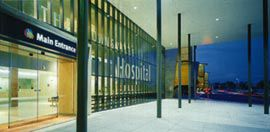 Night view of the main entrance porte cochere. Photographs David Sandison.