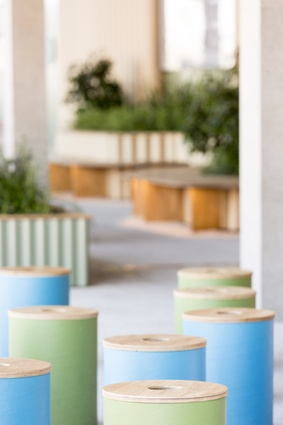 Big River's Blackbutt Armourpanel was used for the Wulugul Pop Up at the Barangaroo waterfront. It was used for seating, garden edges, stool tops, sign boards, table tops and TV enclosures.