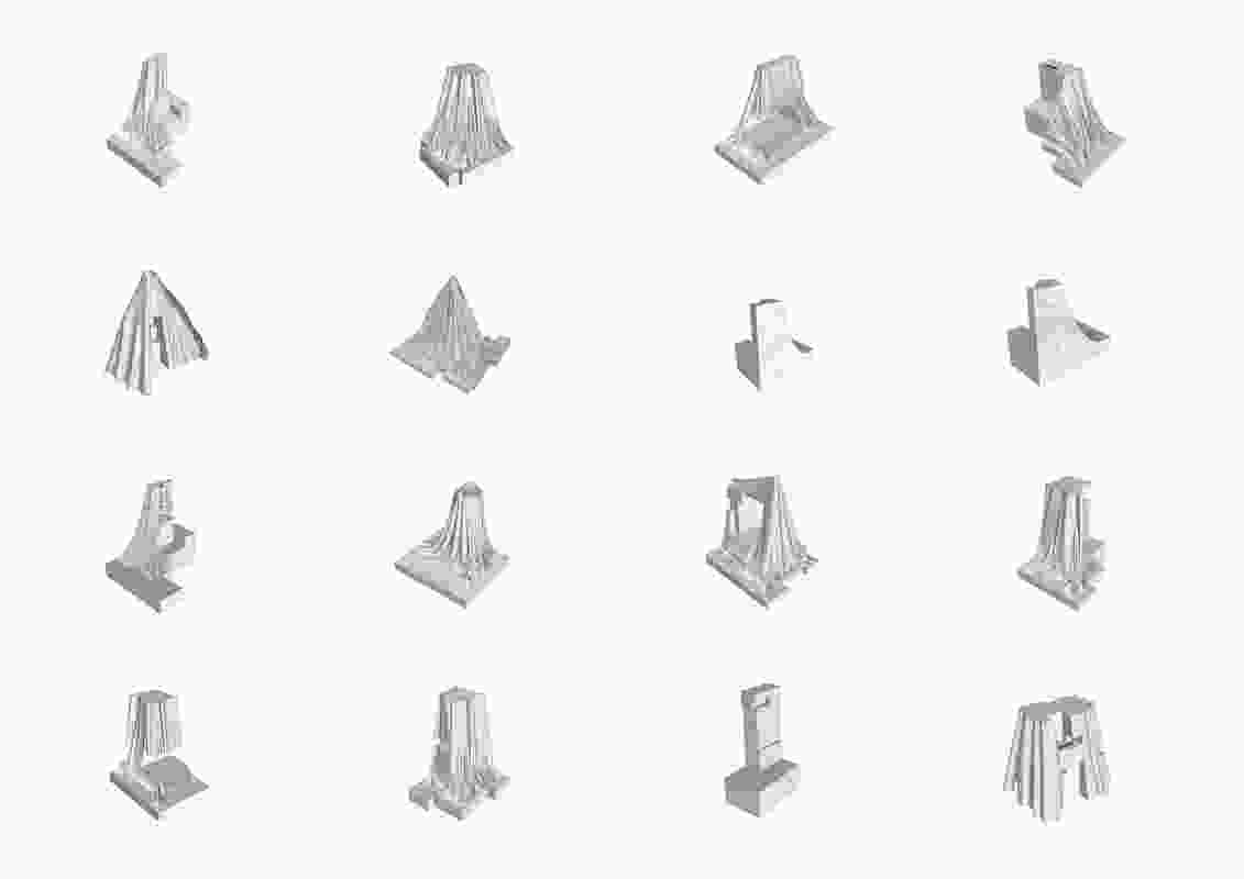 Public monuments were 3D laser scanned, draped with a virtual cloth, broken open and then fabricated as objects using Glass Reinforced Concrete (GRC).