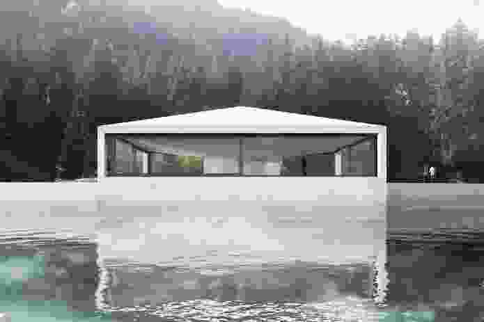 Proposed pavilion by Valerio Olgiati on the Caumasee, in Flims, Switzerland.