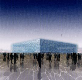 The competition-winning entry by PTW Architects for the National Aquatic Centre, Beijing.