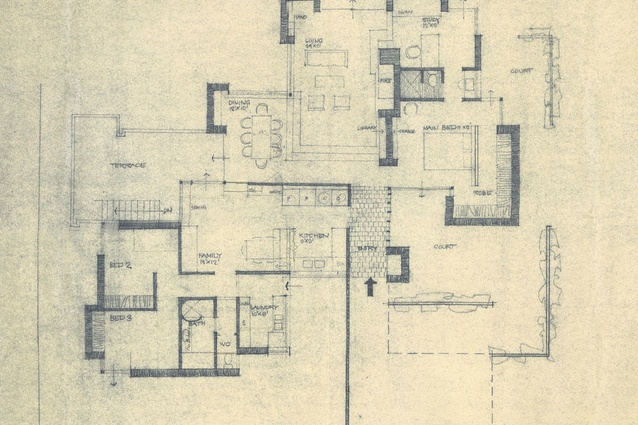 An early concept plan of the Baudish house. The final plan was slightly amended.