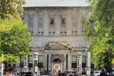 An artist's impression of the Russell Street entrance to the State Library of Victoria.