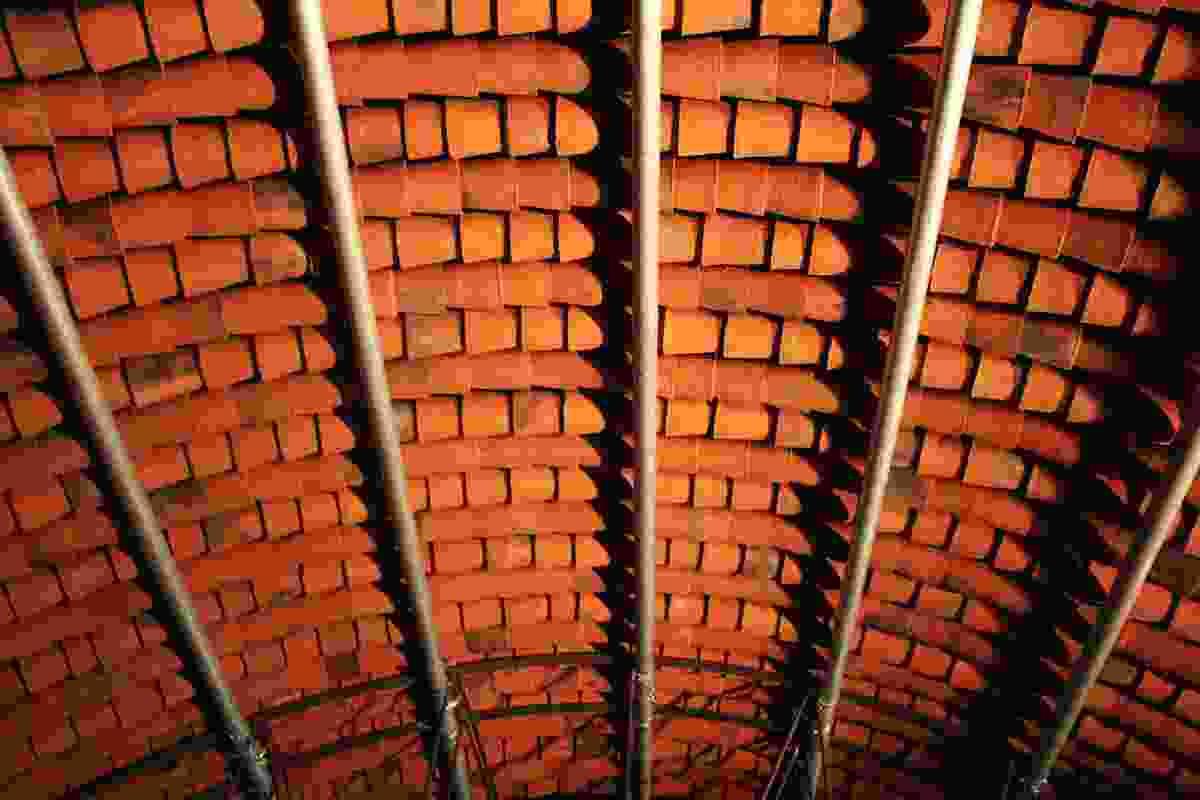 Interlocking terracotta tubes handmade by Indian craftsmen.