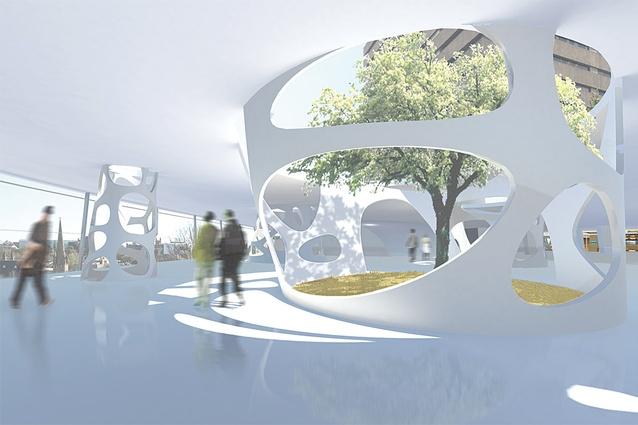 Sunken Gardens Inhabit Hollow Columns On The Top Floor Of Podium Extension By Lacoste