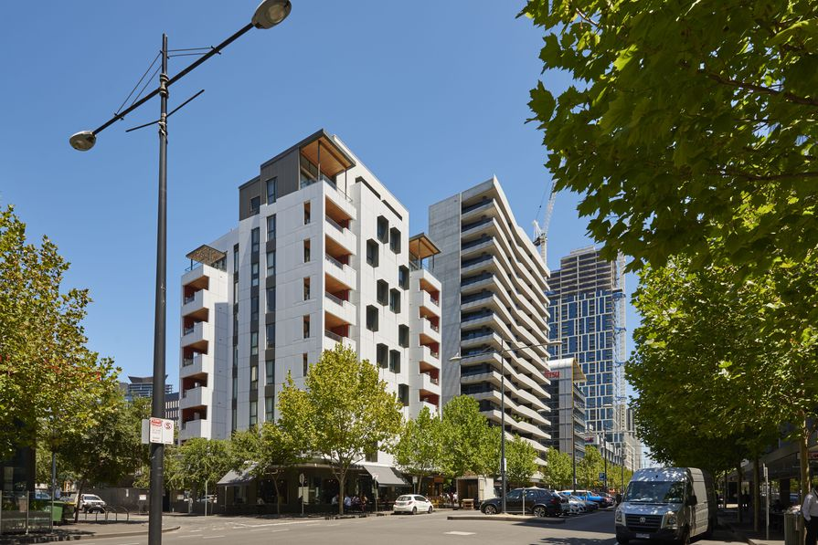 Forte in Victoria Harbour, Melbourne, designed and constructed by Lendlease. It is Australia's first timber high-rise apartment building.