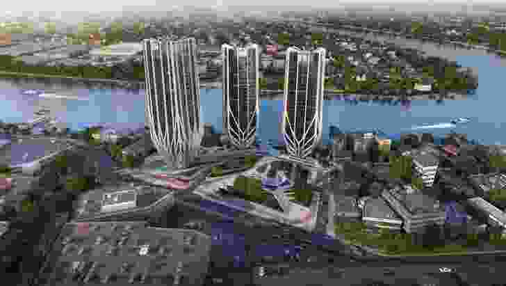The three towers of the Grace on Coronation development by Zaha Hadid Architects are shaped like champagne flutes.