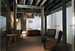 The hotel's Art Installation Suite, in the old warehouse part of the complex, is used as changing exhibition/ gallery space and overlooks the atrium.