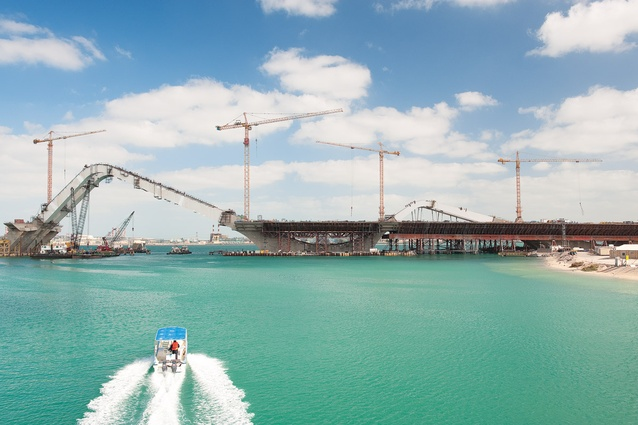 The bridge's construction began in 2005 and ended in 2011. Shown here in Spring 2010 from Maqta Bridge.