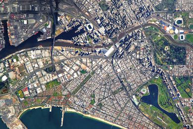 Satellite view of Melbourne.