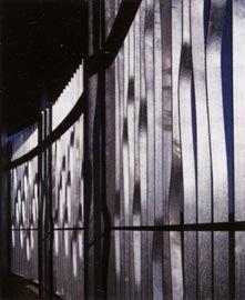 Detail of the waving steel screen enclosure.Image: Trevor Mein