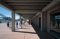 Looking along the colonnade, showing the new connection between broadwalk and foyer. Image: Eric Sierins