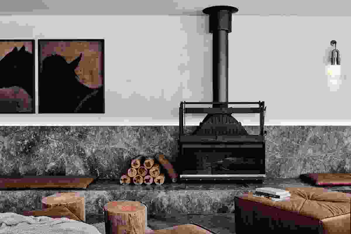 Exaggerated hearths at seat height and sprawling lounges invite guests and visitors to pause and retreat.
