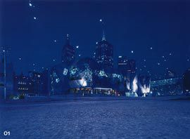 """Looking towards the ACMI building, with the """"starry sky"""" of catenary lights.Image: Derek Swalwell."""