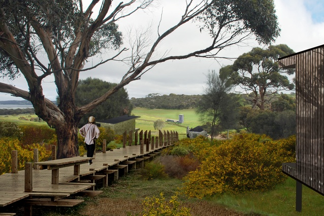 Proposed Kangaroo Island resort by Parti. Pictured: an early visualization of the site in Winter, with cabins and a lodge in the distance.