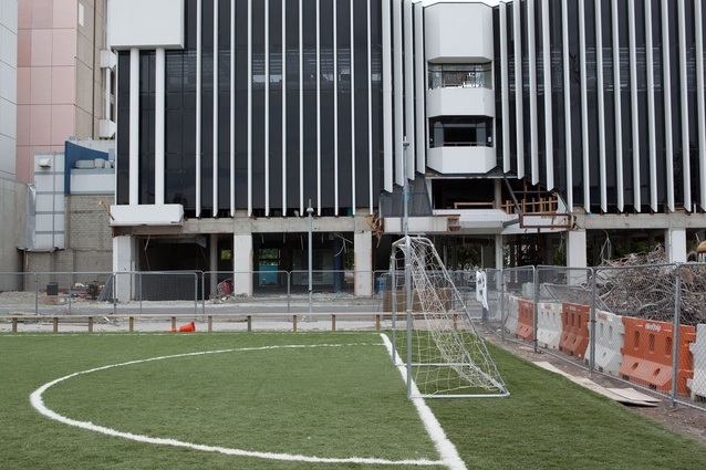 Football in the gap: A five-aside football pitch that was a joint initiative between the All Whites, Nike Football and Rebuild Christchurch.