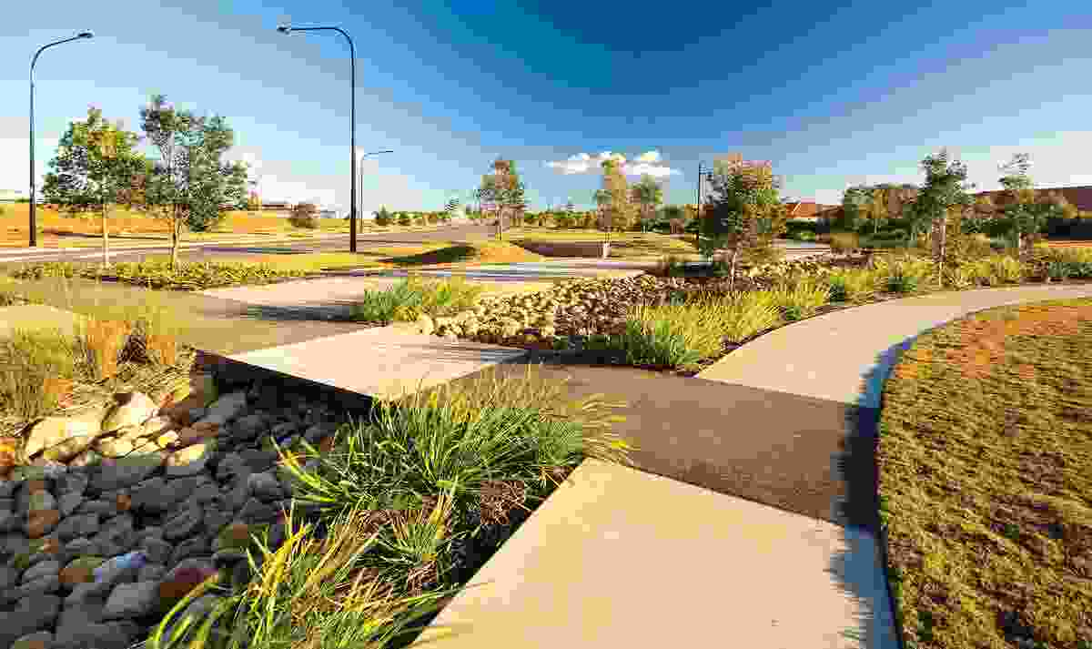 Stormwater is managed through rain gardens and wetlands at both developments (North Lakes pictured).