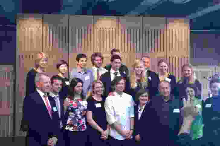 The MADE 2014 cohort of Australian and Danish students with the 2015 Australian students, with program partners, Sydney Opera House CEO Louise Herron AM (centre) and to her right, Hassell principal Ken Maher the announcement in the Utzon Room on 22 August 2014.