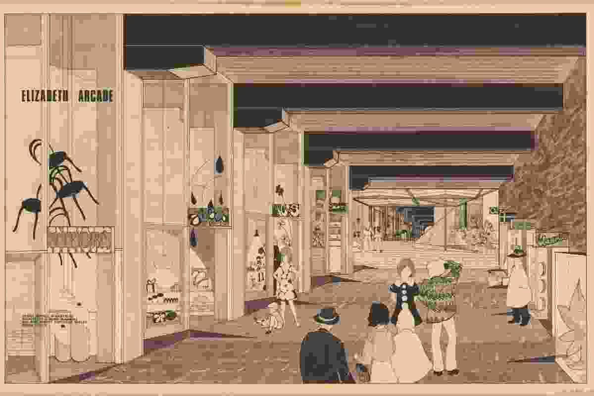Drawing of Elizabeth Arcade, Brisbane by James Birrell and Partners.