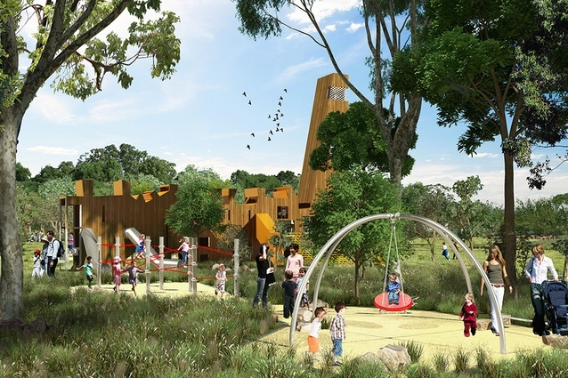 Rendering of the children's play structure at Bungarribee Park by JMD Design